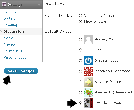 WordPress Default Gravatars - Custom Avatar for Walking Apes